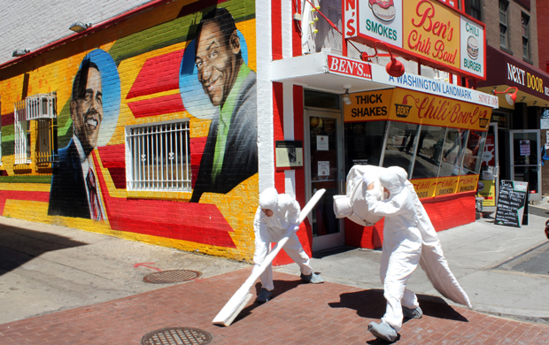 "Nora Howell explores the construct of ""whiteness"" in ""Spotless,"" right outside of Ben's Chili Bowl in the U Street corridor of Washington, D.C."