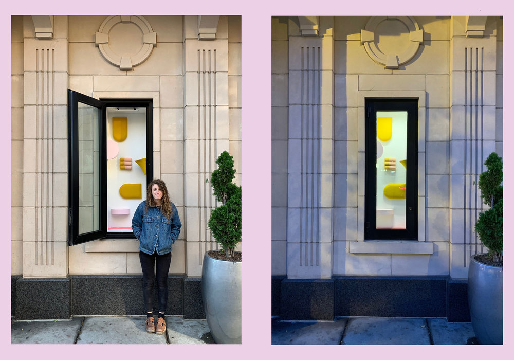Baltimore-based artist,  Giulia Livi  installed her new installations,  Upholstered  in the  13|U  Art Windows. The windows, located art 1310 U Street NW, are curated by Hamiltonian Artists and are dedicated to supporting emerging local artists in the D.C., Baltimore, and Virginia area.  Livi is the 2018 SMCM-MICA Artist House Teaching Fellow at St. Mary's College of Maryland. Her work in painting and installation is an investigation of interior space and design, focusing on abstraction and accessibility. Her immersive rooms employ color and form to work out ideas of weirdly functional artwork and overly-curated home spaces. These spaces invite the viewer to interact with and live with the work, imagining lifestyles that are both retro and futuristic. Her installations center on the acute and the polite, the domestic and the utilitarian. She has exhibited both nationally and internationally with recent solo shows at VAE (Raleigh, NC), Arlington Arts Center (Arlington, VA), and School 33 Arts Center (Baltimore, MD).  Livi's installations,  Upholstered  will be up until March 15, 2019.
