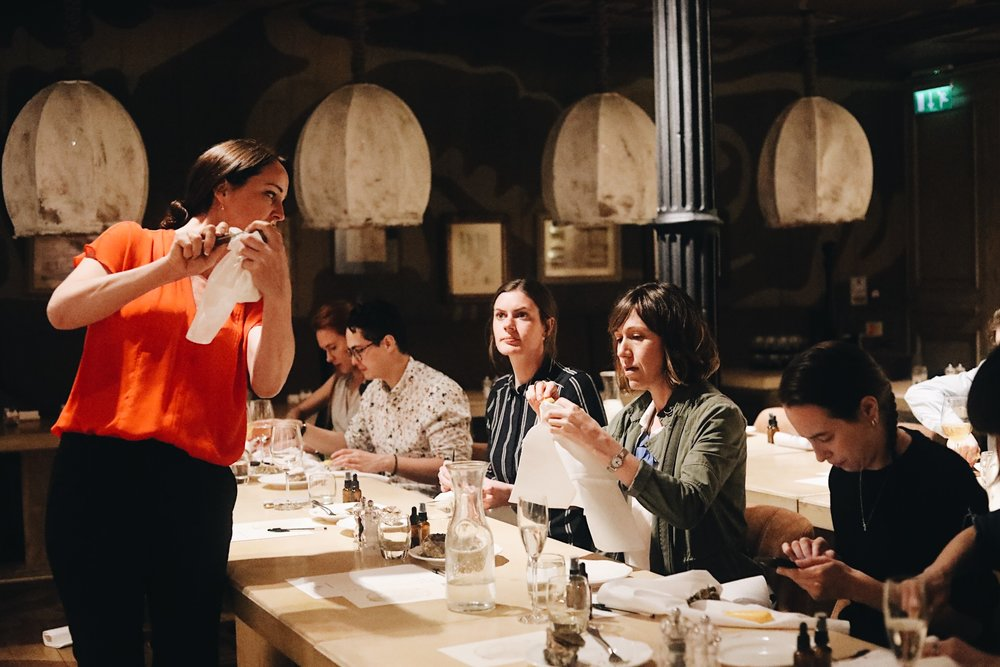 Katy hosting an Ostrelier Masterclass during London Oyster Week at Bocconcino in Mayfair  Pic by  Brahma Studios .