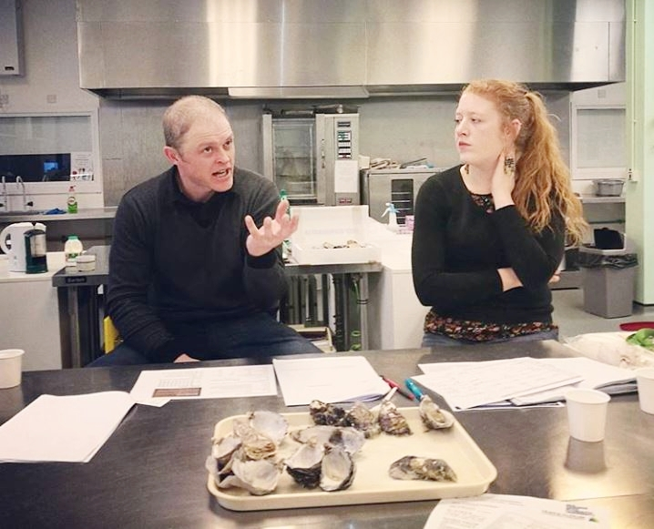 Shaun Krijnen - Menai Oysters & Dr Anaëlle Lemasson at the Plymouth University Laboratory