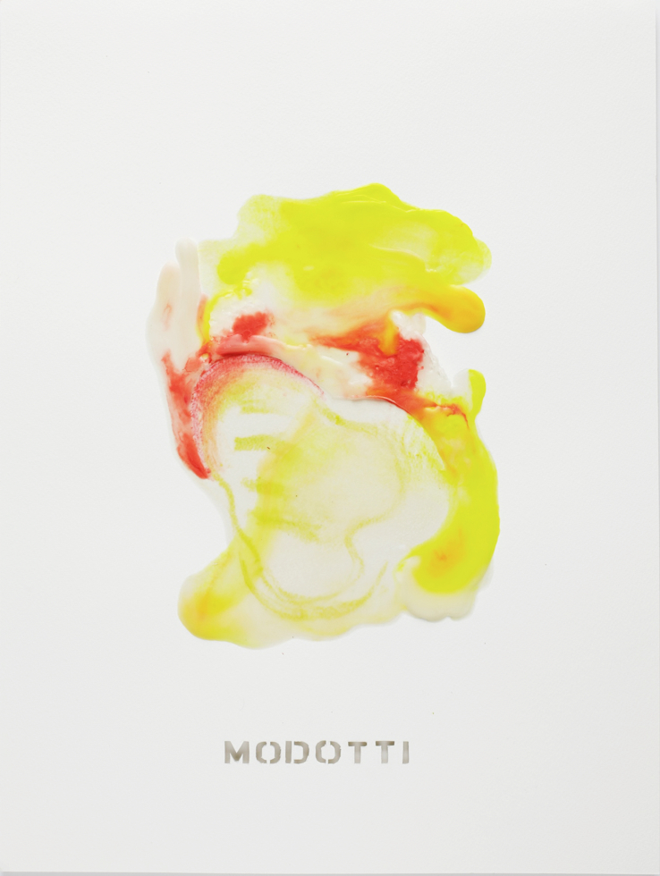 """MODOTTI   Beeswax and mixed media on paper  20"""" x 15""""  2017  Referencing: Tina Modotti (1896-1942); Italian photographer, who lived a riveting life as a phenomenal photographer, silent film actress and political activist."""