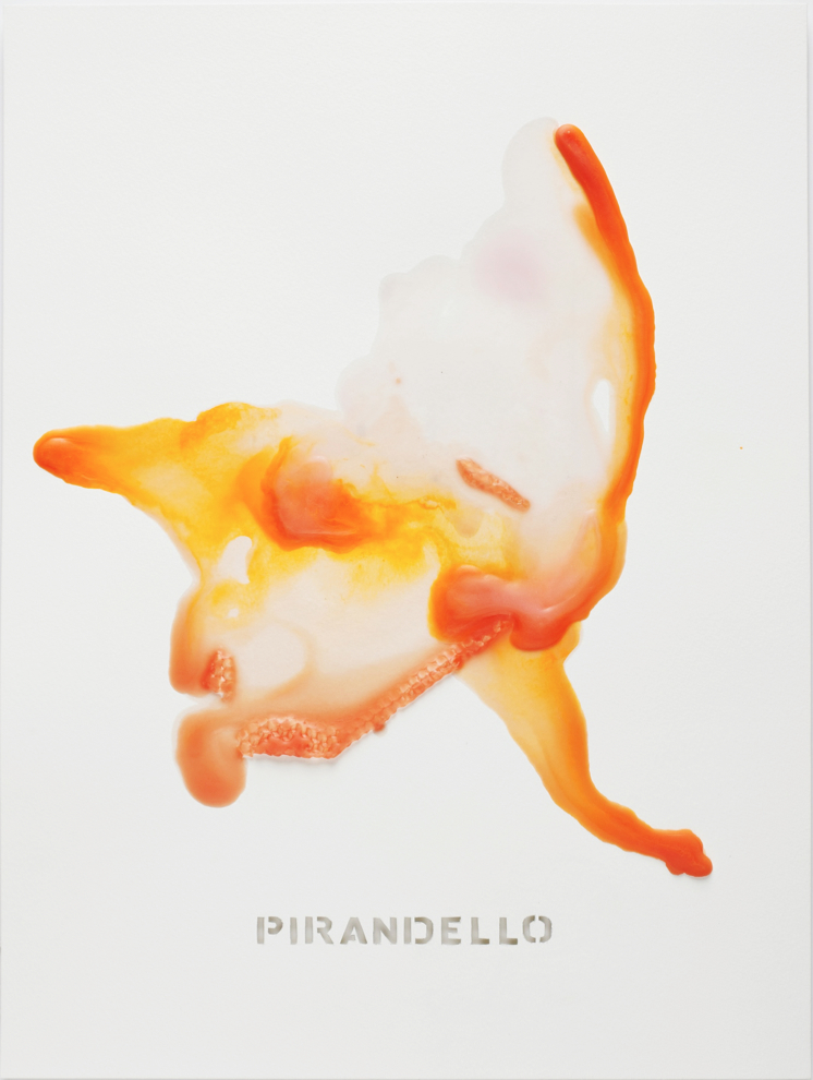 """PIRANDELLO   Beeswax and mixed media on paper  20"""" x 15""""  2017  Referencing: Luiji Pirandello (1867-1936); Italian Playwright who wrote many farces and participated in the Theater of the Absurd."""