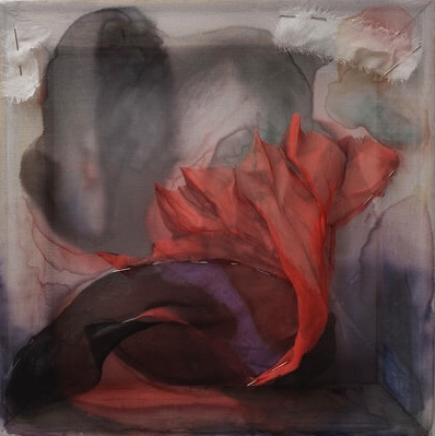 "Alexandra Posen Chasma Boreale chiffon, ink, pins and wood 12"" x 12"""
