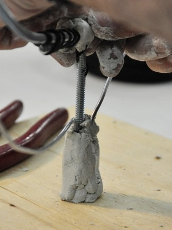 Anchor the sculpture armature with Winterstone