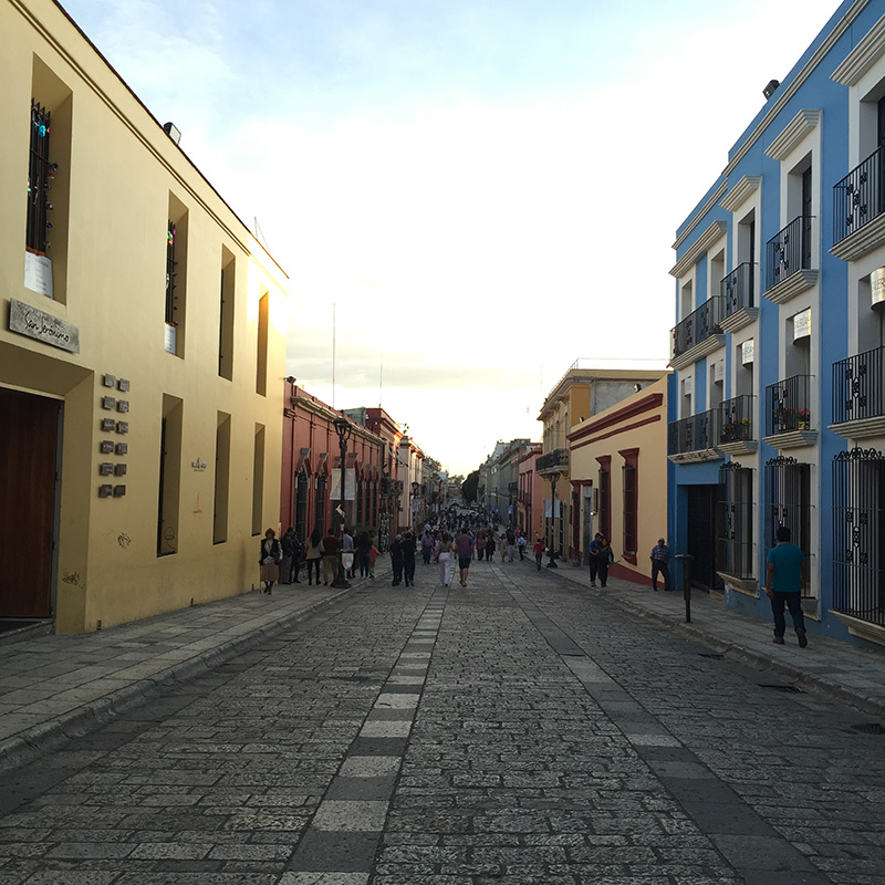 The main street in Oaxaca City