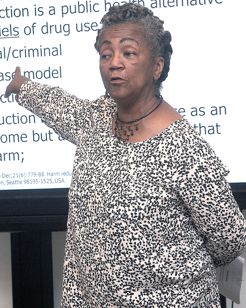 Joyce Myricks leading a discussion
