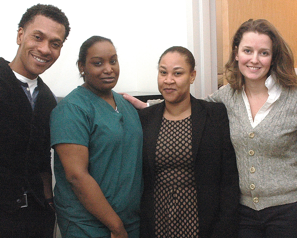 ASCNYC Intake Team: Caroline Anderson, Luis Worrell with two of their interns