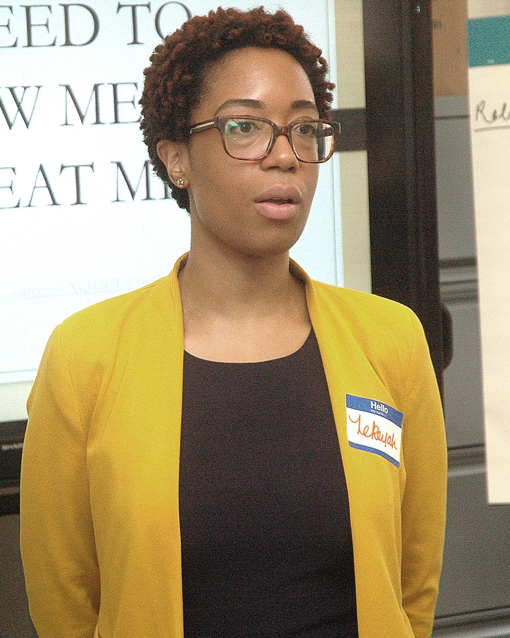 Tekeyah Sears leading a discussion