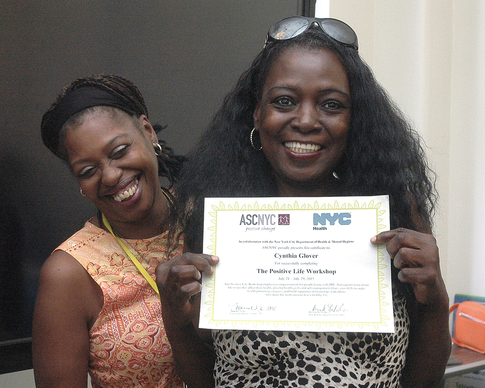 Cynthia G. getting her completion certificate