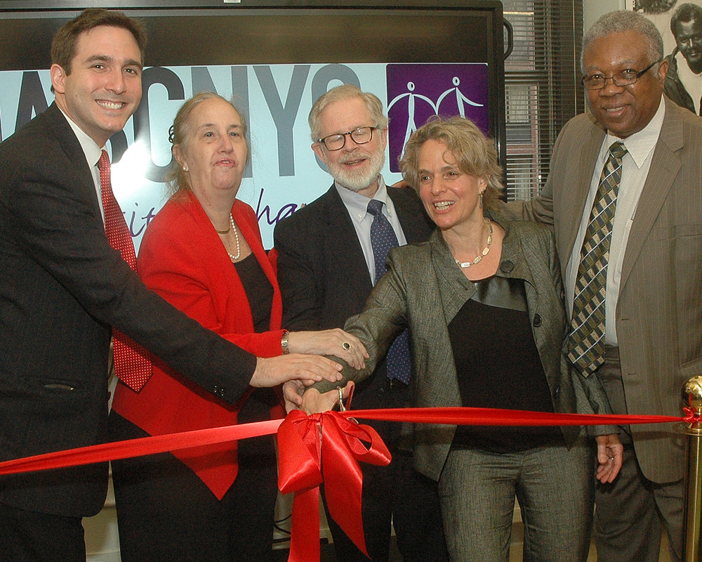 NYC Council Member Ben Kallos, Manhattan Borough President Gale Brewer, NYS Assembly Member Richard N. Gottfried, Sharen Duke and Bill Toler cut the ribbon at ASCNYC's New Midtown Central site.