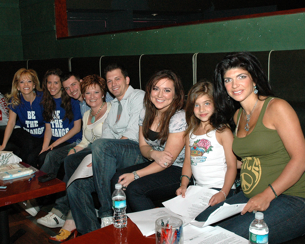 Dina Manzo, Caroline Manzo and Teresa Giudice of The Real Housewives of New Jersey with family