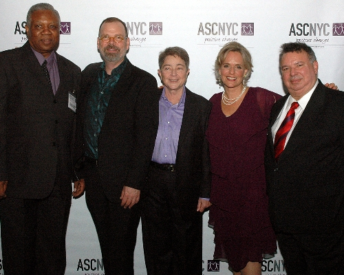 Honorees David France and Joy Tomchin with Honorary Event Chair Humberto Cruz and ASCNYC Board Chair Bill Toler and ED Sharen Duke