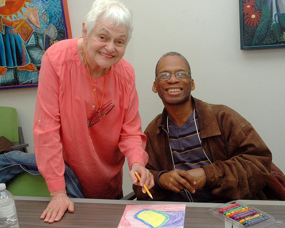 Louise with a workshop participant