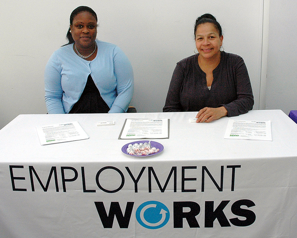 Two job fair interviewers