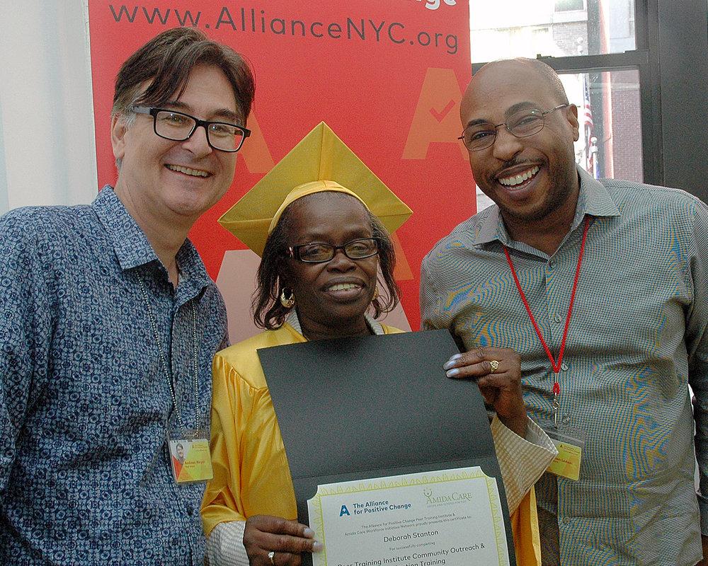 Deborah S. with her certificate