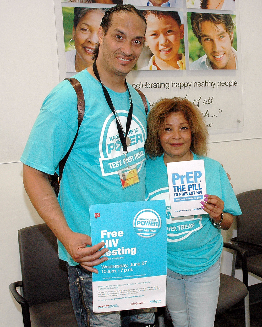 Velia and Terrence participating in Outreach / HIV Testing event at Walgreen's in Penn Station