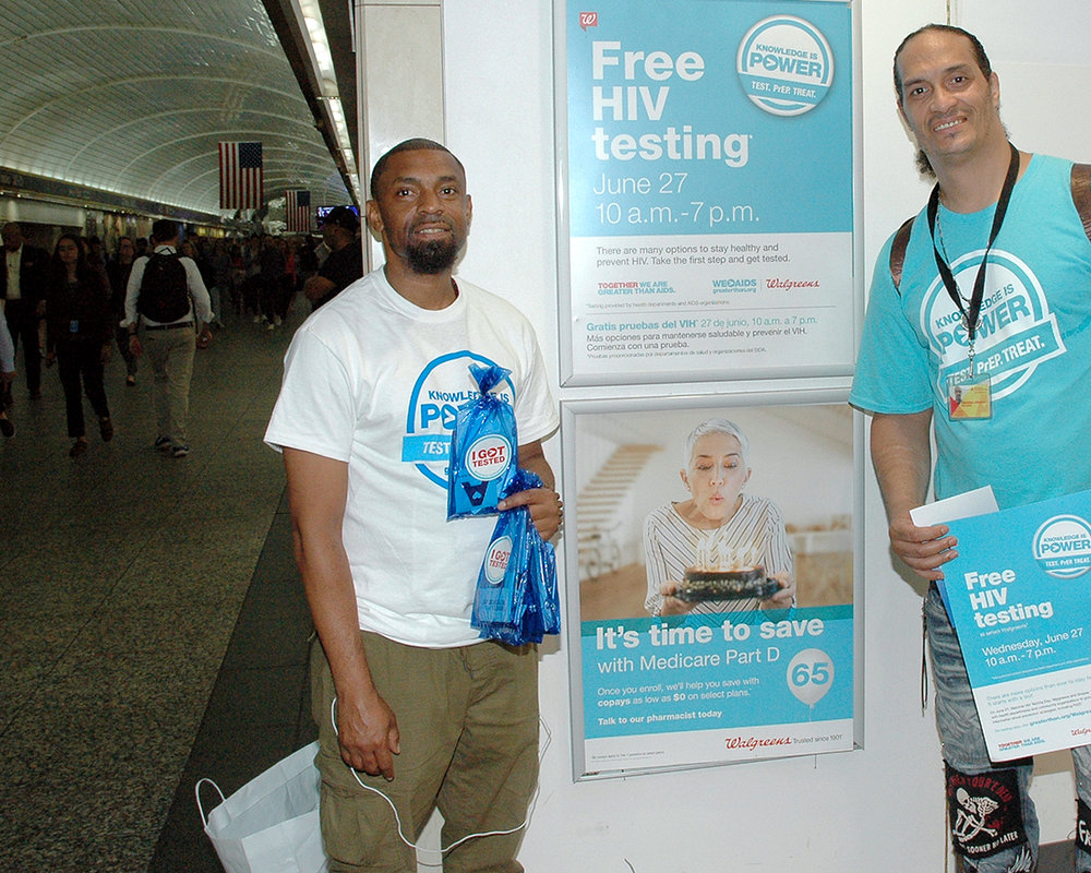 Steve and Terrence doing Outreach at Walgreen's in Penn Station