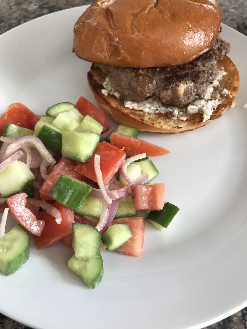 Greek Diner Burger with Feta Salad