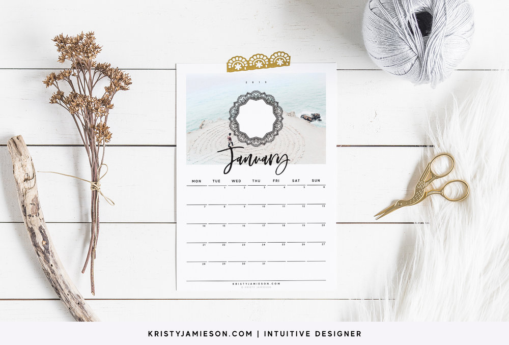 2019 Printable Calendar Minimalist Free Kristy Jamieson