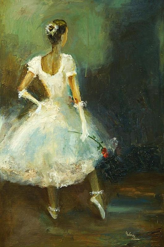 Ballerina with a red rose