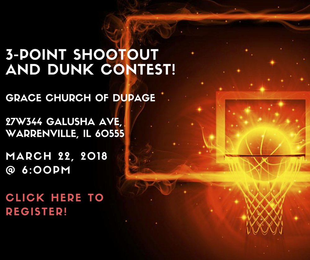 "Registration is OPEN! On Thursday March 22nd, Grace Church will be hosting a 3-Point Contest and Dunk Contest prior to the Basketball League Championship game! Winners of each competition will earn a brand new Evolution Basketball, and participate in the inaugural ""Signing of the Rock Ceremony""! Sign ups are open to anyone, and spectating is open to anyone else!"