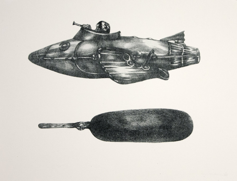 """Freudian Ship"" Photolithograph 11""x14"""