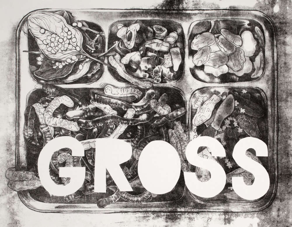"""Gross II"" Stone lithographic monoprint 18""x24"""