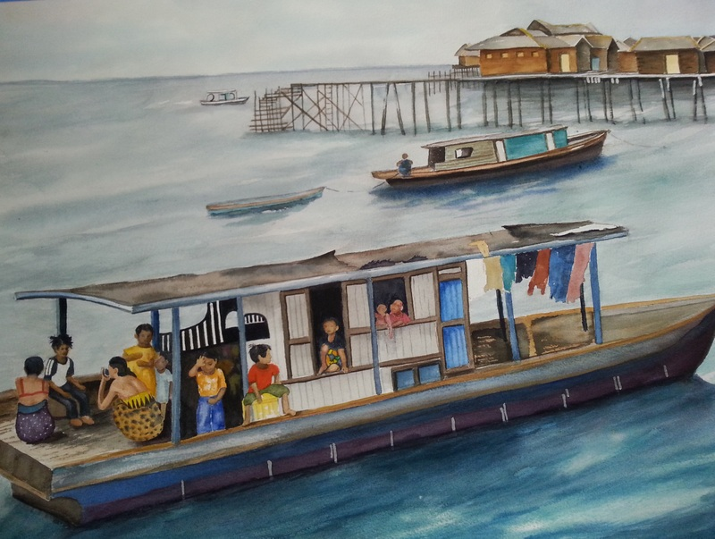 Malaysian Boat People by Wanda Richardson
