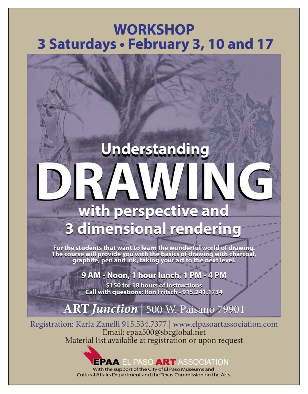 Join us for Drawing Classes with Ron Fritsch in February 2018!