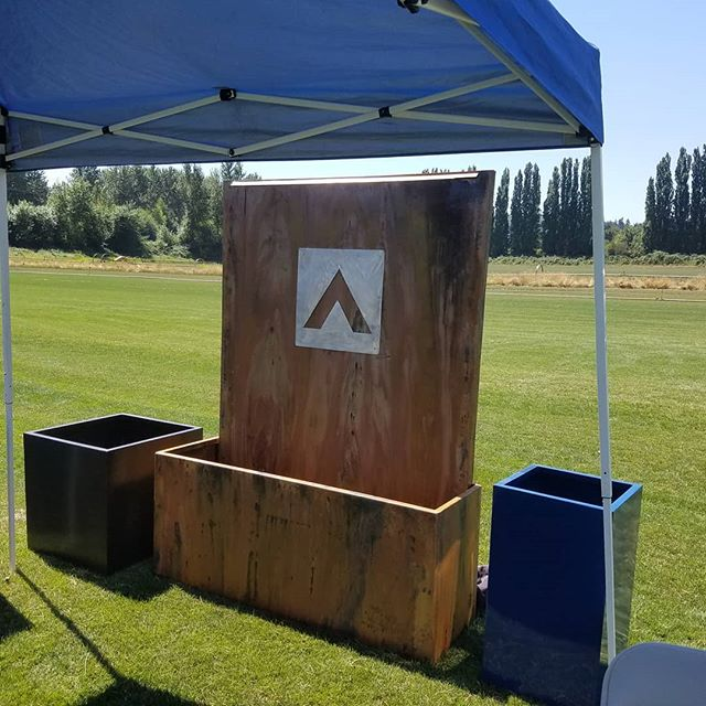 We had a blast and got to show off our new water feature at walp field day. Thanks to everyone who stopped by to say hi.  #architerradesigns #waterfeature #landscapedesign #steelwork #cortensteel #patina