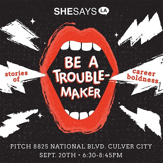 "Everyday can come with its own form of a tiny rebellion. Join @thepitchagency on THURS, 9/20 @6:30pm as we host a few female ""troublemakers"" who will share their stories of career boldness to embolden the next generation of female thought-leaders. . . . . Reserve FREE tix with the link in bio! #shesays #troublemakers #herstory"