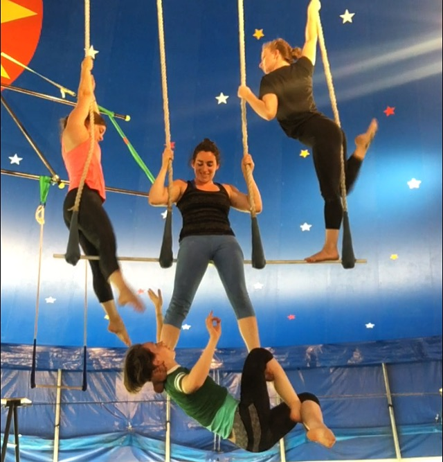 Working with the other aerial coaches (Bronwyn, Nina, and Glenna) to prepare a triple trap piece for the Staff Show.