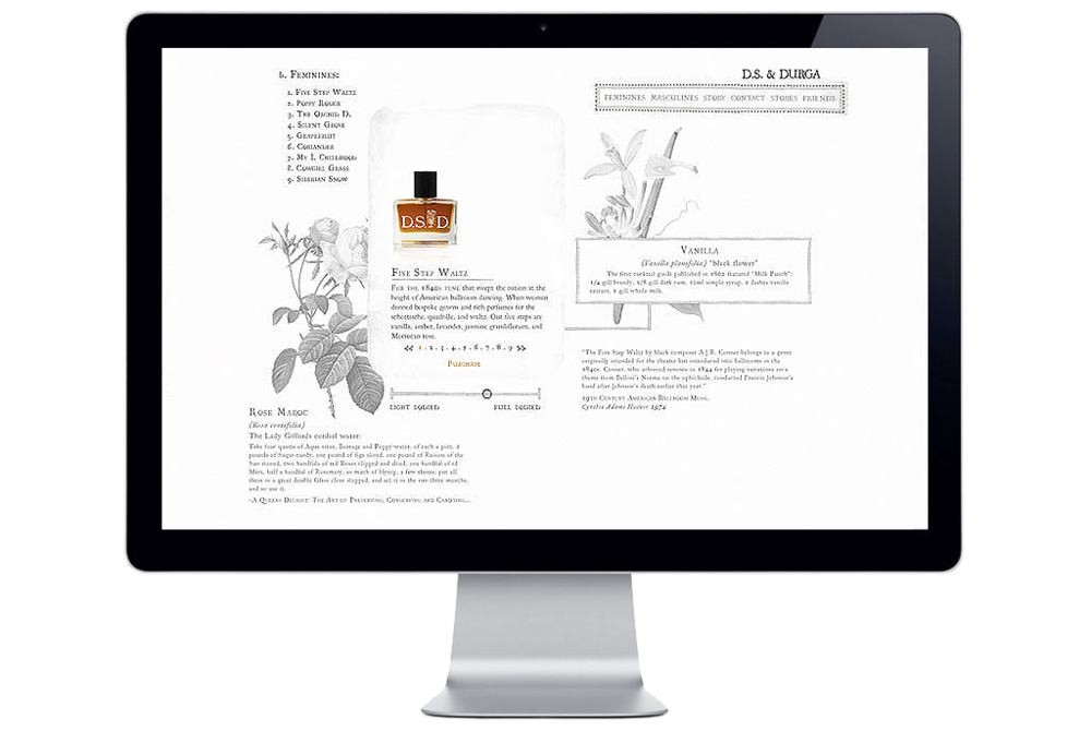 The D.S. & Durga Perfumers website, in development.
