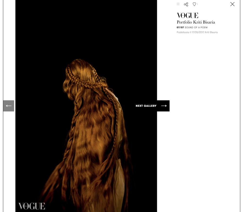 VOGUE ITALIA - photographer / kriti bisariadesigner / jyu ri rimodel /camille mervin leroymake up / irving vaughanhair / zeta