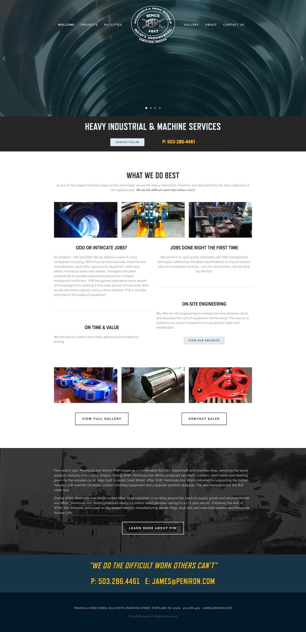 "Peninsula Iron Works ""infinity"" index homepage designed by Patey Designs Portland Oregon"