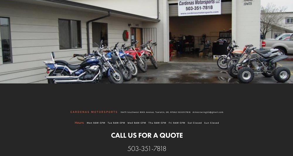Cardenas Motorsports website redesign featuring mobile responsive design.