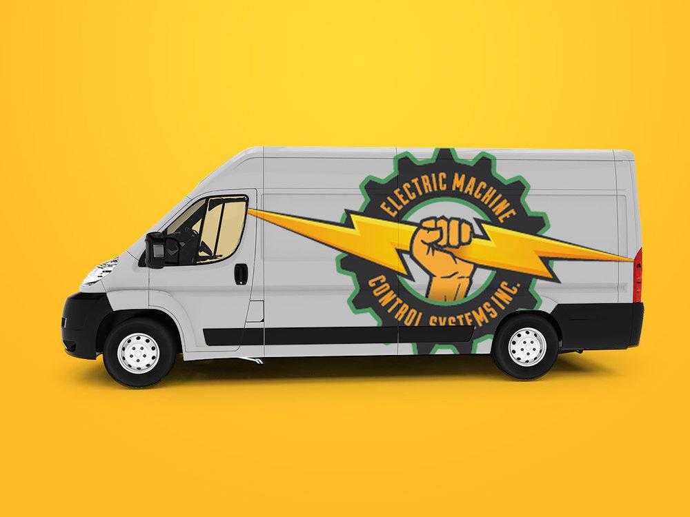 Mockup of EMCS logo on cargo van.