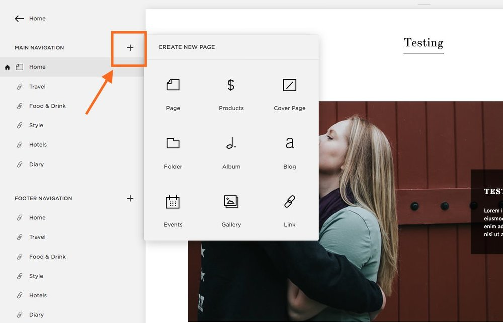 Click the plus sign next to Main Navigation to add a new menu item to your main navigation.