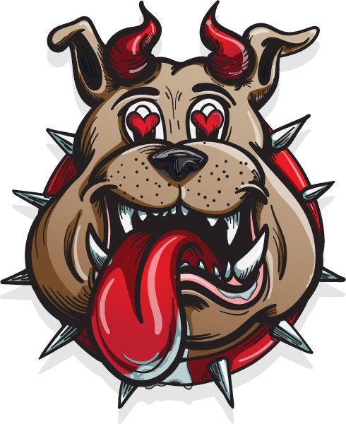 The dog's head of the logo was sketched, inked, and colored all by hand digitally.