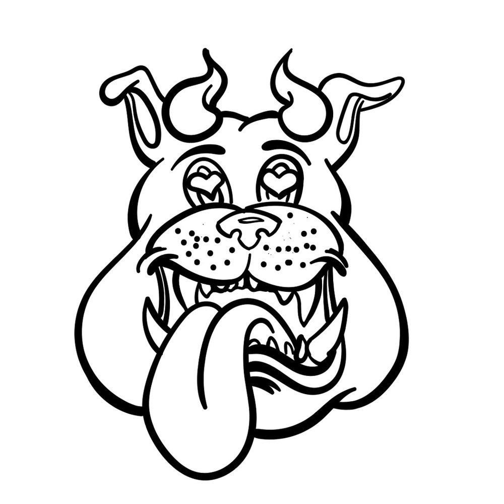 Finished Horn Dawgs digital inking bulldog head logo