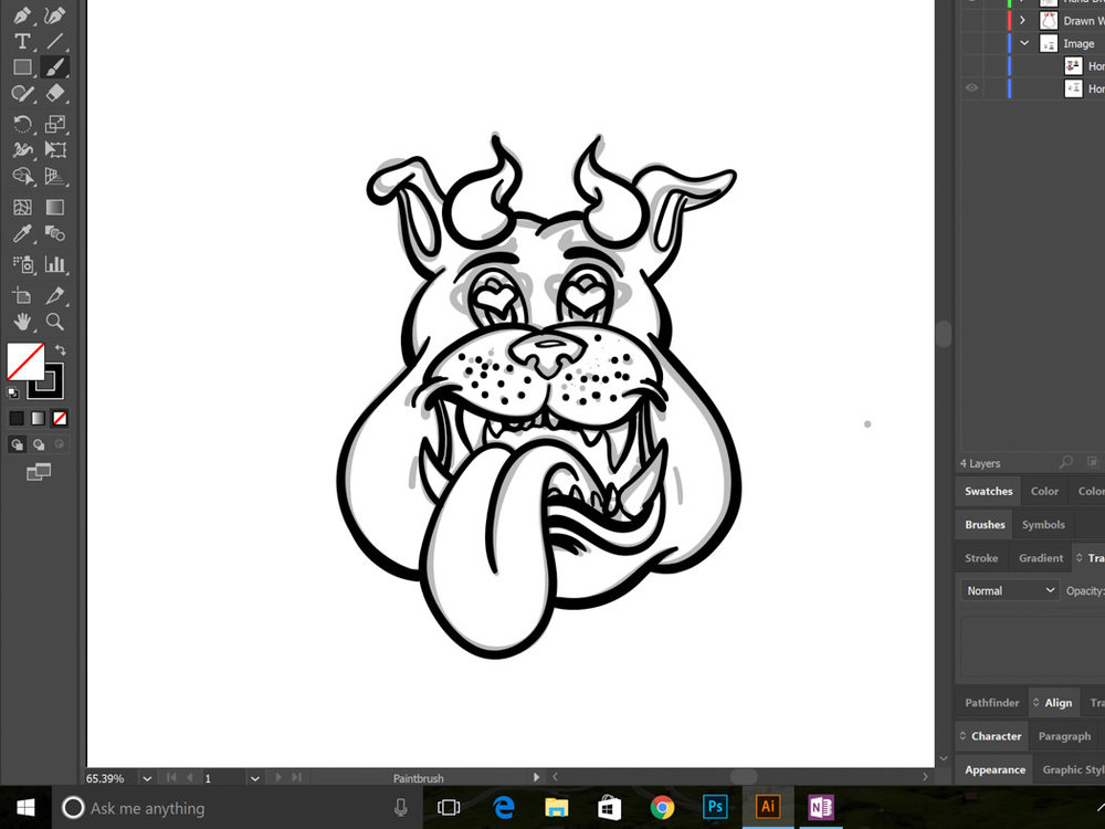 The final digitally inked outline of the logo is complete. You can see the previous sketch underneath.