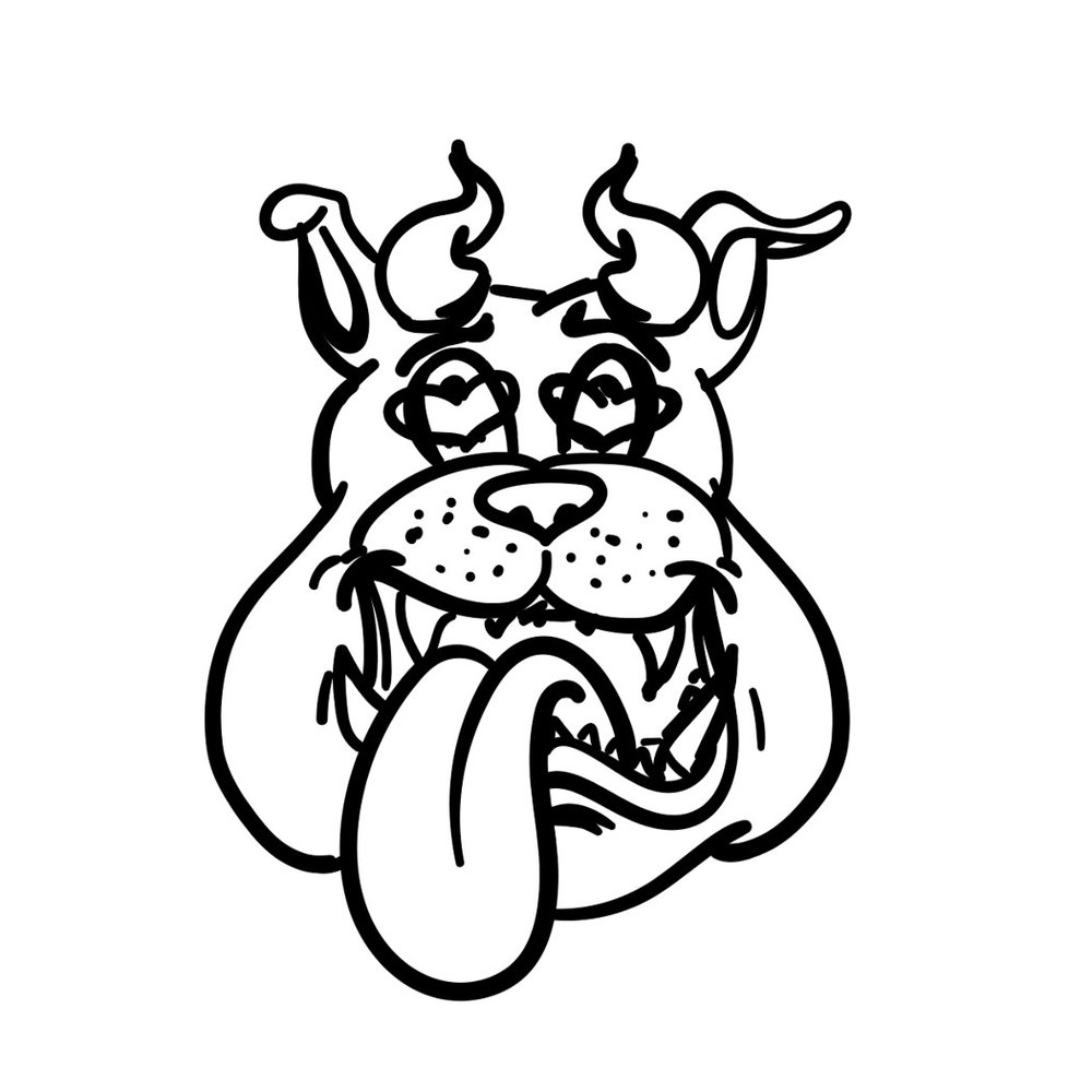 Digital linework on horn dawgs logo getting closer to finished product.