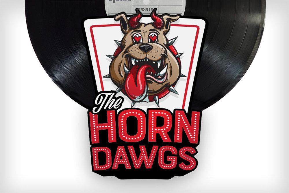 Horn Dawgs hand drawn digital logo artwork by Patey Designs