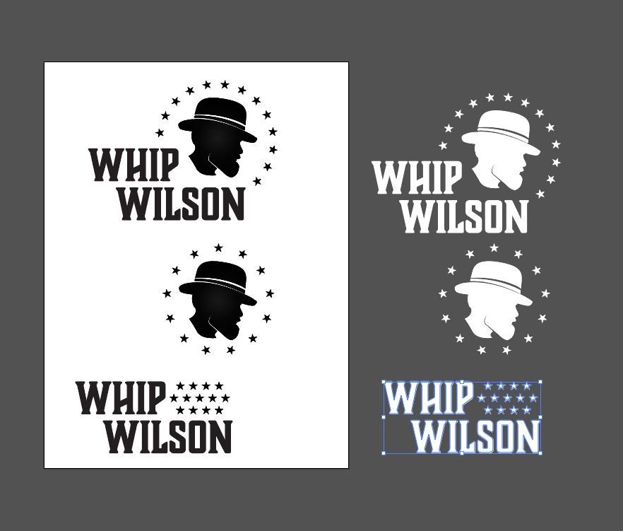 Three different layouts and mixes of the logo's components in both black and white.