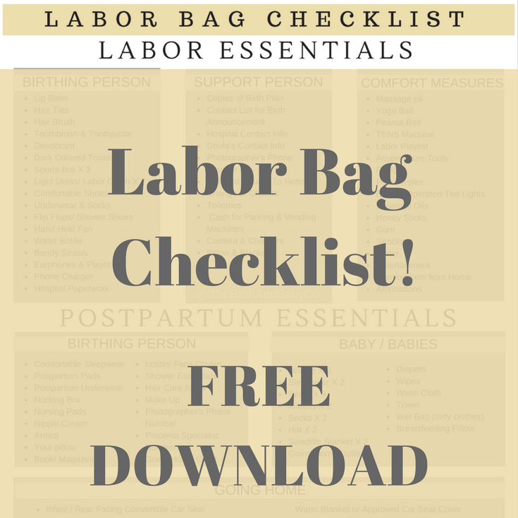 Labor Bag Checklist - FREE PRINTABLE -