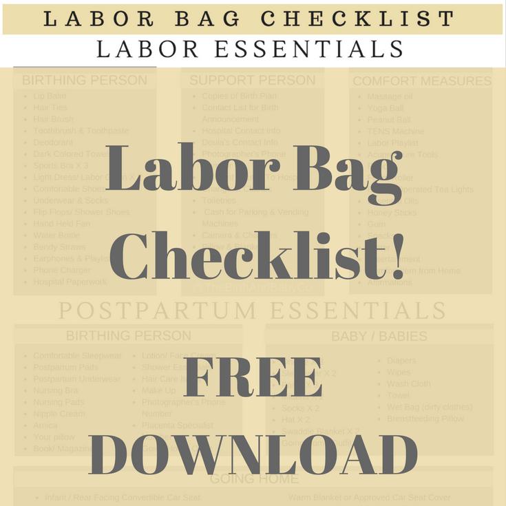 Labor Bag Checklist - FREE PRINTABLE -
