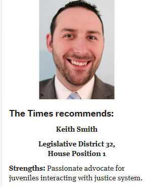 "The Seattle Times has endorsed me for the 2018 Primary Election.  ""[Voters] should vote for Smith for House Position 1. He is seeking to unseat Cindy Ryu, a former Shoreline mayor now serving her fourth term. Ryu is supported by the party establishment, and her lengthy commitment to public service is laudable. But it's time for change."" Read the whole story here: https://www.seattletimes.com/opinion/editorials/the-times-recommends-keith-smith-for-legislative-district-32-house-position-1/"