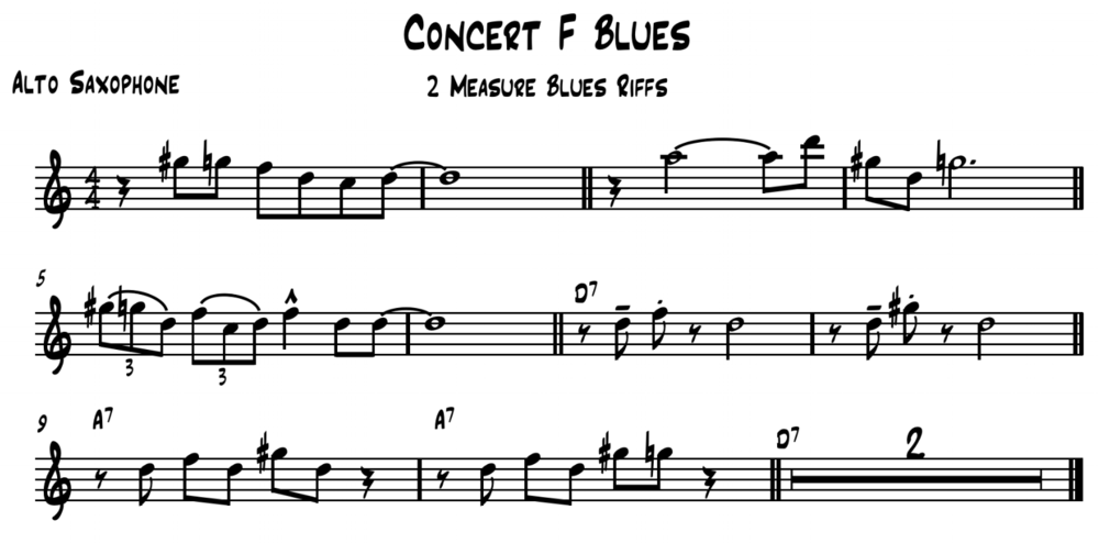 Two measure Concert F Blues Riff/Ideas written for Eb Instruments (e.g. Alto/Baritone Saxophone). Feel free to transpose the riffs here and use them with your students.