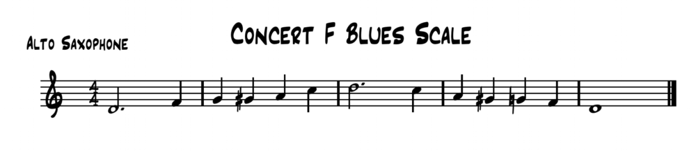 Concert F Blues Scale written for Eb Instruments (e.g. Alto/Baritone Saxophone) Feel free to transpose the scale into the keys you need.
