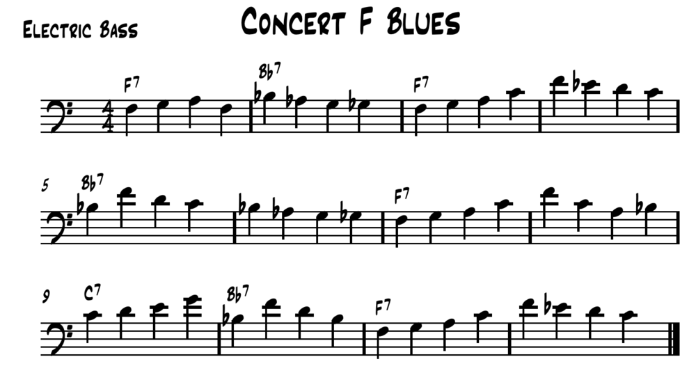 Concert F Walking Bass Line. Feel free to transpose this bass line to another key and use it with your students.
